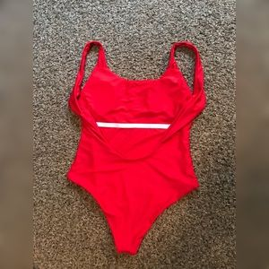 Swim - Red one piece high cut vintage style swimsuit